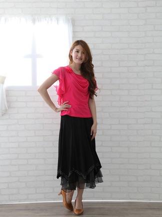 社交ダンス スカート コーラス 衣装 ステージ 八枚接ぎジルコンスカート(SKBW20172) 黒/MIX