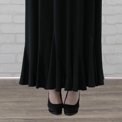 コーラス 衣装 ロングスカート カタログ 無料 大正琴 合唱 演奏会 発表会 第九 十二枚はぎエスカルゴロングスカート 黒  20072