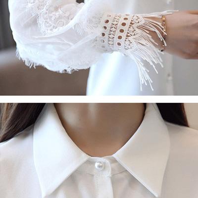 コーラス衣装 ブラウス 演奏会 結婚式 パーティー カラオケ衣装 レースのトリミング袖におしゃれなカフスがフォーマル向きの白ブラウス 白 23097