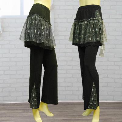 刺繍レース付きオーバースカート付パンツは、ダンス衣装におしゃれに活躍!|30042