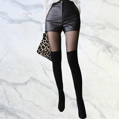社交ダンス 衣装 ショートパンツ フェイクレザーパンツ  ホットパンツ レディース 合皮 黒 23116