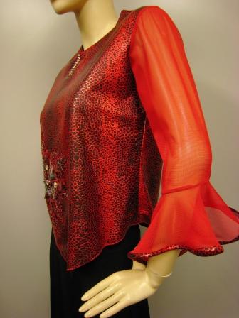 シャカ生地スパン刺繍デザイントップス(TORP13365)赤
