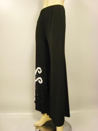 社交ダンス 衣装 ダンスパンツ ワイド フレアー ストレッチ デザインフレアーパンツ 白モチーフ刺繍