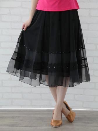 社交ダンス スカート コーラス 衣装 ステージ オーガンジー生地を挟み込んだシースルー地八枚はぎフレアースカート(SKBW22240)黒