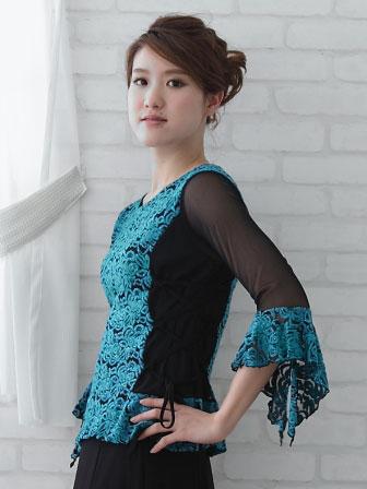 社交ダンス衣装 カラオケ衣装 レディースウェア ブラウス 脇ひも圧縮モールデザイントップス エメブルー