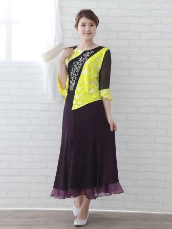 社交ダンス衣装 カラオケ衣装 レディースウェア ブラウス 貼りスパン切り替えジルコントップス 黒黄