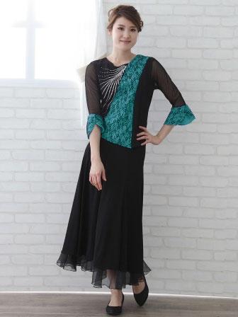 社交ダンス 衣装 カラオケ ブラウス レディースウェア メッシュレース切り替えジルコントップス 黒ブルー