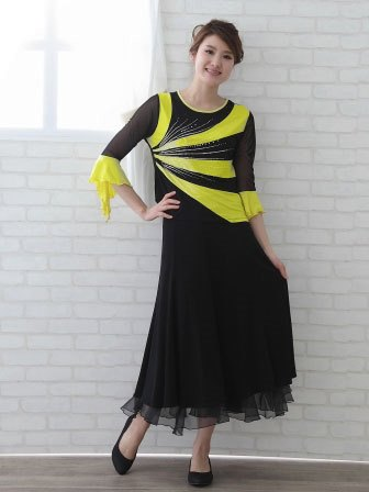 社交ダンス 衣装 カラオケ ブラウス レディースウェア ラメ地切り替えジルコントップス 黒黄