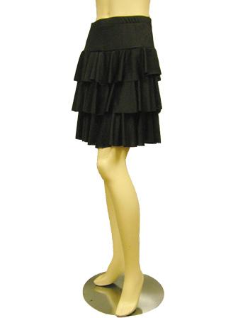社交ダンス スカート コーラス 衣装 ステージ 三段ティアードダンススカート(SKBW22307)黒