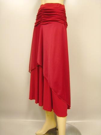ウエストドレープフレアーダンススカート(SKRP29844)赤