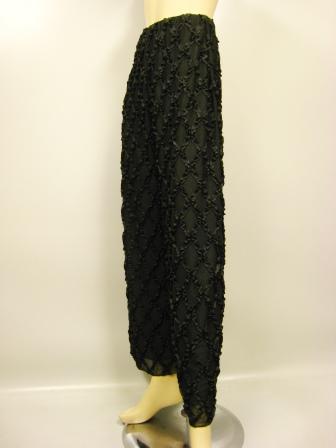 社交ダンス 衣装 ダンスパンツ ワイド フレアー ストレッチ コード刺繍ワイドパンツ 黒B