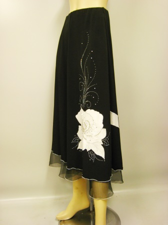 社交ダンス スカート コーラス 衣装 ステージ パッチワーク刺繍花モチーフトップスフレアースカート(SKBW20757) 黒/白