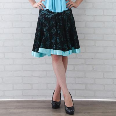 社交ダンス 衣装 スカート ラテン ステージ レース地ミニ丈サテンリボントリミングスカート 黒ブルー 22429