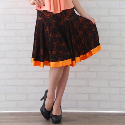 社交ダンス 衣装 スカート ラテン ステージ レース地ミニ丈サテンリボントリミングスカート 黒オレンジ 22430