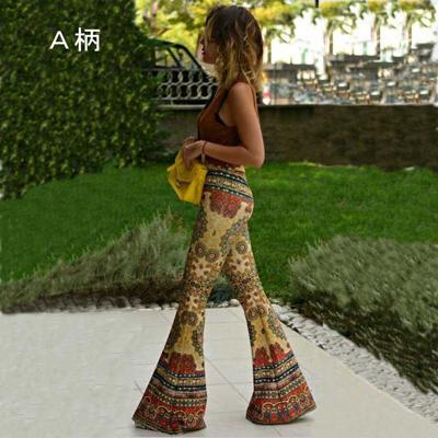 ジャズダンスパンツ衣装のプリントブーツカットパンツ|23211