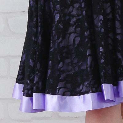 社交ダンス 衣装 スカート ラテン ステージ レース地ミニ丈サテンリボントリミングスカート 黒パープル 22431