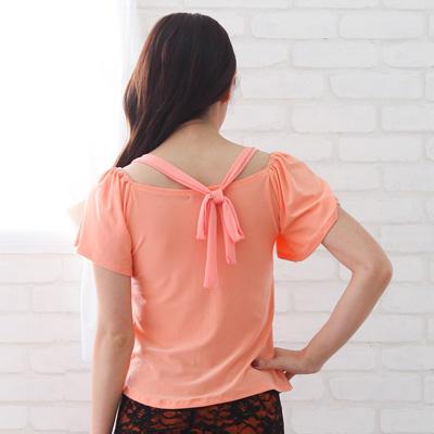 社交ダンス 衣装 トップス 練習着 格安 後ろで結ぶワンホルダーネックダンス用トップス オレンジ 74970