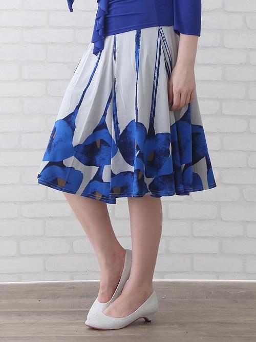 社交ダンス スカート コーラス 衣装 ステージ 六枚はぎパネルプリントダンススカート(SKBP22359)プリント