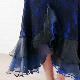 社交ダンス 衣装 ダンススカート モダン ダンス発表会 レース地にスリット入りフリルが華やかフェミニン 黒青 22434