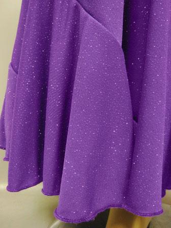 六枚はぎラメエスカルゴ風・ロング丈スカート(SKBP22143)紫ラメ