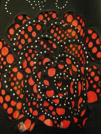 カットワーク八枚はぎマーメードスカート(SKBW22179)黒/赤