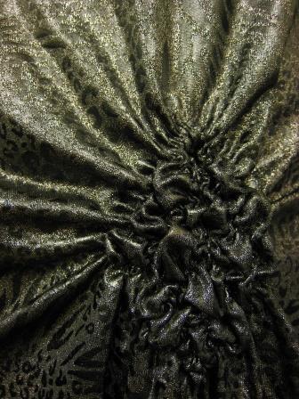 先染めラメ糸織りヒョウ柄デザイントップス(TOBW13439)グレー系