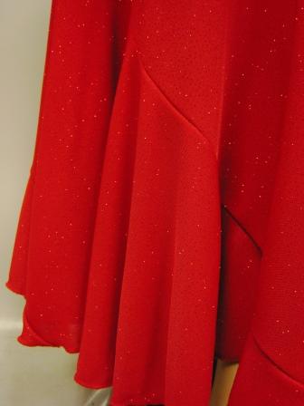 六枚はぎラメエスカルゴ風・ロング丈スカート(SKRP22192)赤ラメ