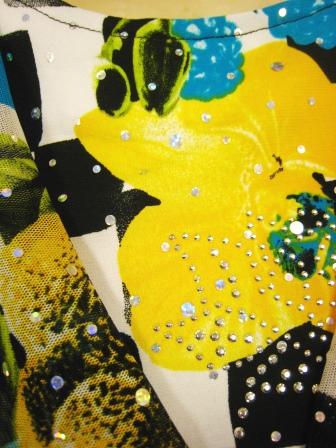 社交ダンス衣装 ダンス衣装 ダンスウェア 貼りスパンプリントドレープトップス ブルー系