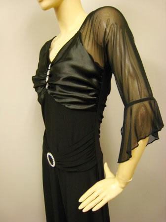 社交ダンス 衣装 ドレス モダン 練習着 バックル付きカットドレス 黒 45526