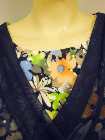 社交ダンス衣装 ブラウス ダンス衣装 ダンスウェア 打ち合わせ風花プリントトップス 紺系