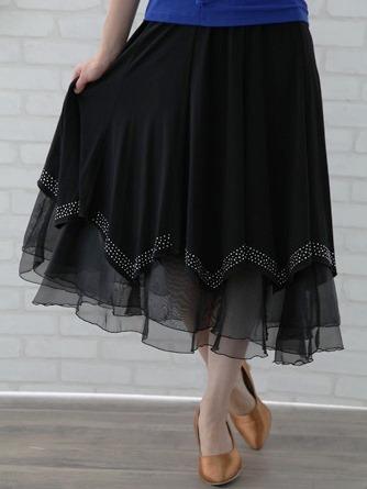 社交ダンス スカート コーラス 衣装 ステージ 八枚接ぎジルコンスカート(SKBW20030) 黒/シルバージルコン