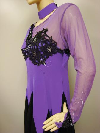 社交ダンス 衣装 ドレス カラオケ ステージ 刺繍モダンドレス パープル 43786