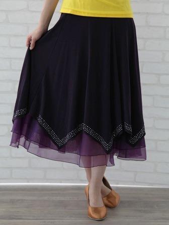 社交ダンス スカート コーラス 衣装 ステージ 八枚接ぎジルコンスカート(SKBP20717) 濃い紫