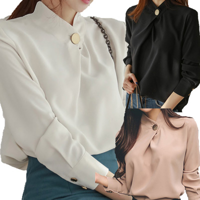 コーラス 衣装 ブラウス 演奏会  結婚式 パーティー カラオケ衣装 上品なクロススタンドカラーブラウス 白 黒 サーモンピンク 23126 白 黒 サーモンピンク