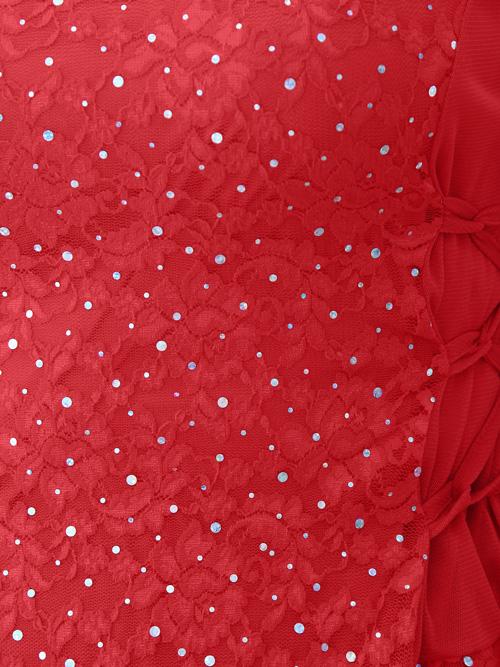 社交ダンス 衣装 コーラス ブラウス カラオケ カーデ レディース 脇ひも刺繍レース地トップス 赤