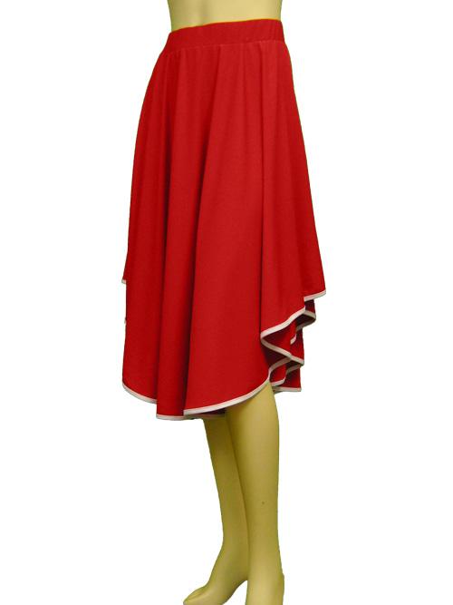 パイピング仕上げダンススカート(SKRP22378)赤