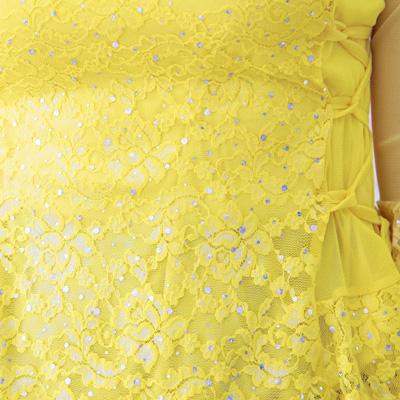 社交ダンス 衣装 コーラス ブラウス カラオケ レディース 脇ひも刺繍レース地トップス 黄 13644