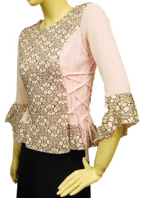 社交ダンス 衣装 コーラス ブラウス カラオケ レディース 脇ひも刺繍レース地デザイントップス ピンク