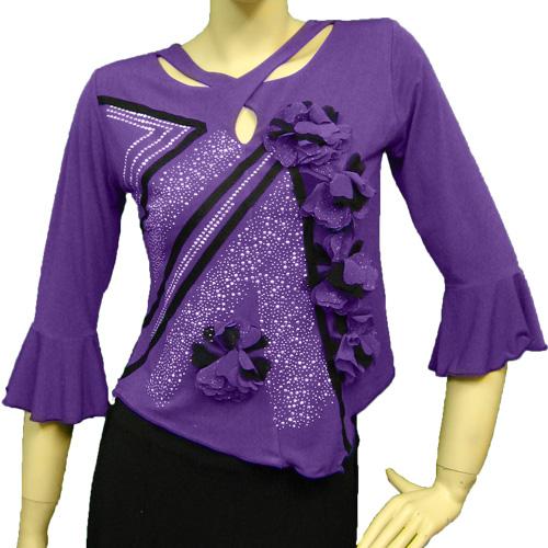 社交ダンス 衣装 コーラス ブラウス カラオケ レディース アシンメトリージルコントップス パープル