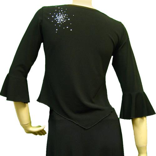 社交ダンス 衣装 コーラス ブラウス カラオケ レディース アシンメトリージルコントップス 黒