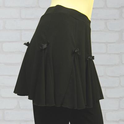 リボン付きフリルオーバースカート付パンツは、社交ダンス衣装のレッスン着に最適|31030