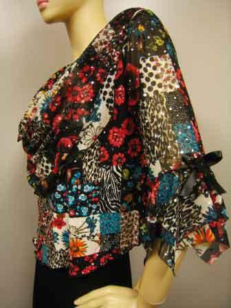 プリントドレープ衿デザイントップス(TORP11299) 赤系/Lサイズ