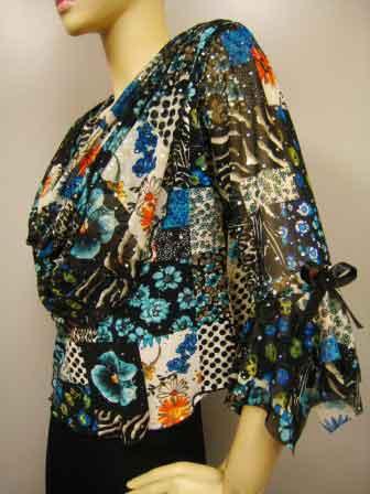 プリントドレープ衿デザイントップス(TOBP11300) ブルー系/Lサイズ
