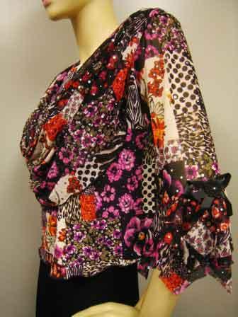 プリントドレープ衿デザイントップス(TORP11301) ピンク系/Lサイズ