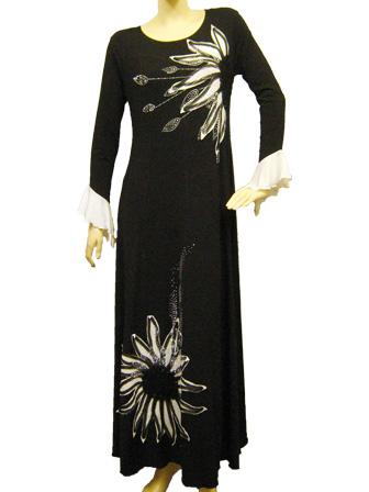 カラオケ 衣装 ステージ ロングドレス 演奏会 パッチワークドレス 黒 白