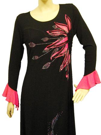 カラオケ 衣装 ステージ ロングドレス 演奏会 パッチワークドレス 黒 ピンク