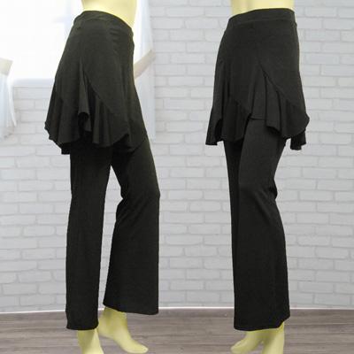 エスカルゴ六枚はぎのオーバースカート付パンツは、社交ダンス衣装のレッスン着に最適|31492