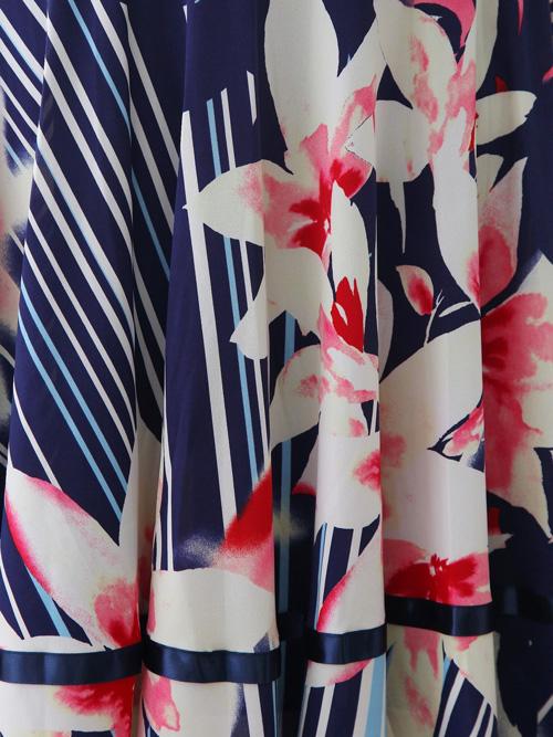 社交ダンス スカート コーラス 衣装 ステージ プリントダンススカート(SKBP22369)紺プリント