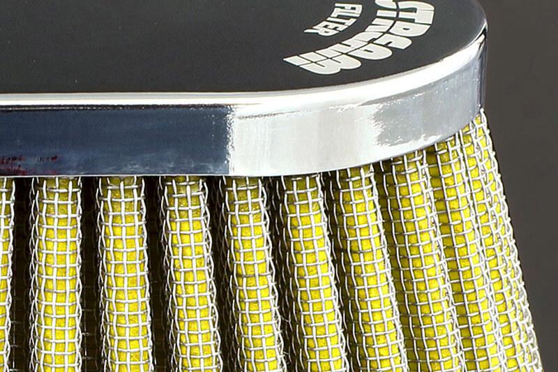 エアフィルター オーバルタイプ (取付口径:50Φ/クローム・レッド)