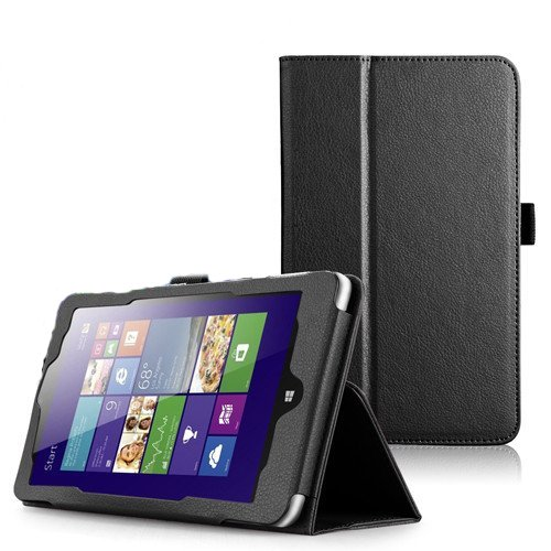 wisers Lenovo IdeaPad Miix2 8 タブレット専用 PU レザー ケース スタンド (ブラック)